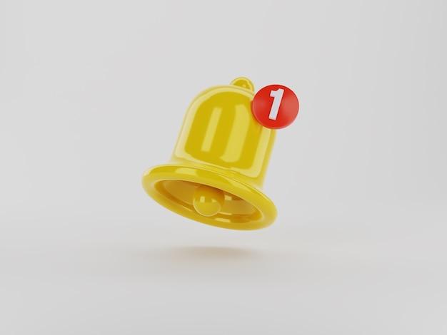 Значок колокольчика 3d-уведомления с обтравочным контуром.