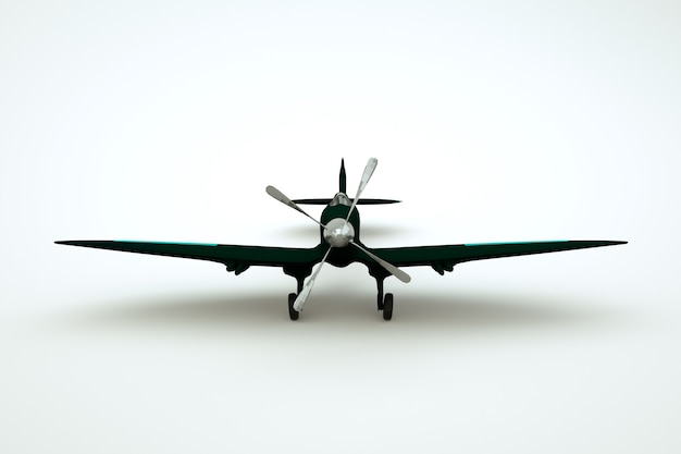 3d object of a black airplane with a propeller in the middle on a white isolated background. graphic model of a black rotorcraft on a light background. close-up
