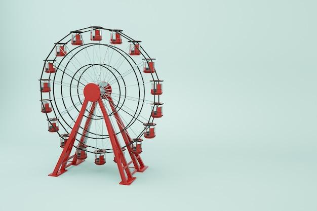 Колесо обозрения объекта 3d на белом изолированном фоне. красное колесо обозрения, 3д графика. крупный план