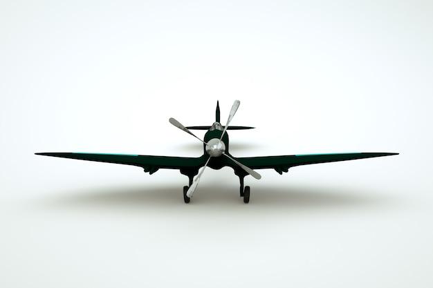 白い孤立した背景の真ん中にプロペラを持つ黒い飛行機の3dオブジェクト。明るい背景の黒い回転翼航空機のグラフィックモデル。閉じる