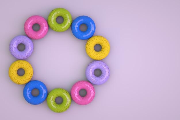孤立したピンクの背景にカラフルなドーナツで作られた3dオブジェクト。円形に配置された多色ドーナツの等角モデル。菓子製品、3dグラフィックス。閉じる。