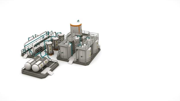 공장 생산 시설, 흰색 배경에 고립 된 디자인 요소의 3d 개체입니다. 화학 보일러 및 급수탑, 금속 드럼.