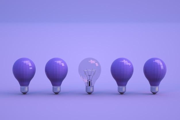 電球の3dオブジェクトは、青い孤立した背景の上に立っています。暗い消灯した電球が一列に並んでいます。さまざまな電球、薄暗くて透明。閉じる。 Premium写真