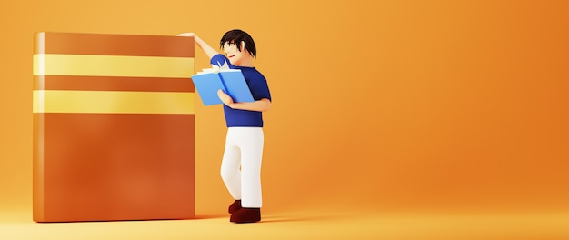 オレンジ色の表面で本を読んでいる男の3d