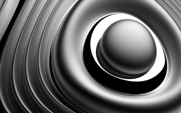 マットで光沢のあるアルミニウムの有機の湾曲した滑らかなソフトで丸いバイオフォームの球の一部と抽象的な背景の3d