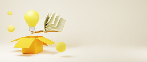 箱から出して本と電球の3d