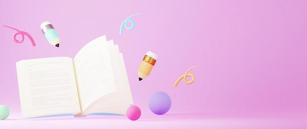 ピンクの表面に本と鉛筆の3d