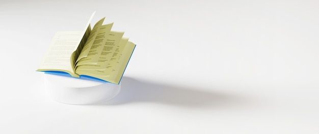 白い表面の本の3d