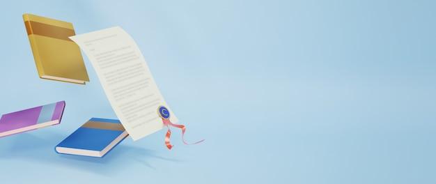 青い表面に3dの本と学位証明書