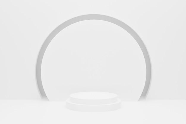 3d цвета подиума круга белого цвета с круглой рамкой.