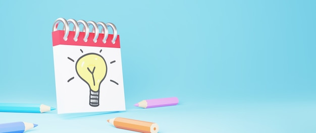 色鉛筆と電球付きのテキストノートの3d