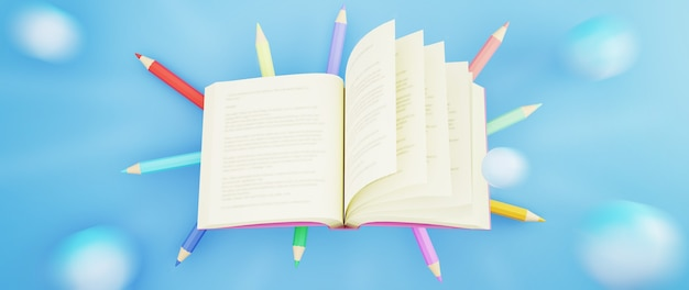 3d красочные карандаши и книга на синей поверхности