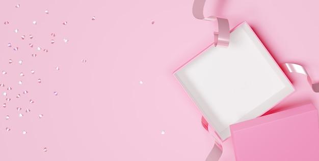 幸せな女性の日のためのあなたの製品のための空の開いたギフトボックスの3d