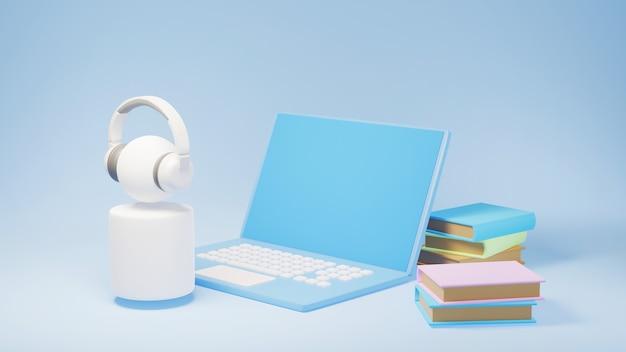 ノートパソコンと本の3dとヘッドフォンを持つユーザー