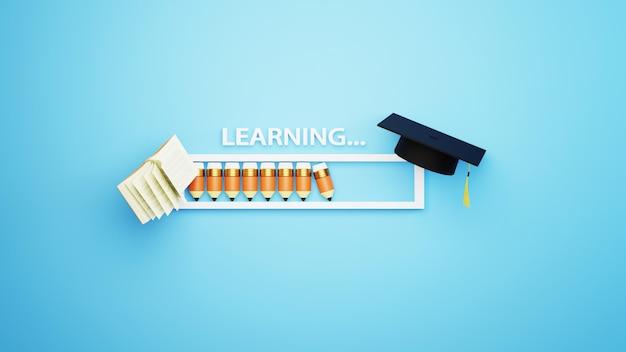 鉛筆と本が付いているローディングバーの鉛筆の3d