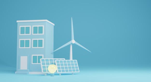 건물 전기와 재생 에너지 illustration.renewable 에너지의 3d. 3d 렌더링