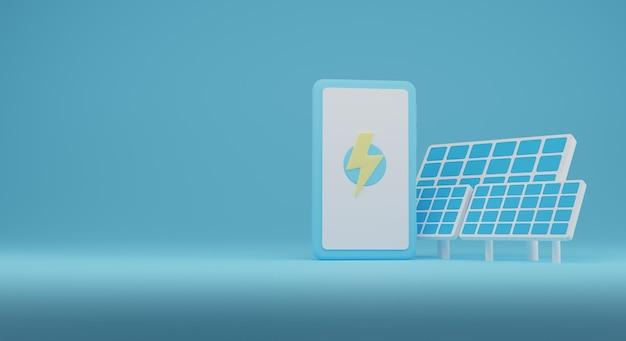 휴대 전화를 충전하는 재생 에너지 illustration.renewable 에너지의 3d. 3d 렌더링