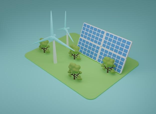 재생 에너지 그림의 3d입니다. 현장에서 태양 전지판과 터빈이 있는 재생 에너지입니다. 3d 렌더링