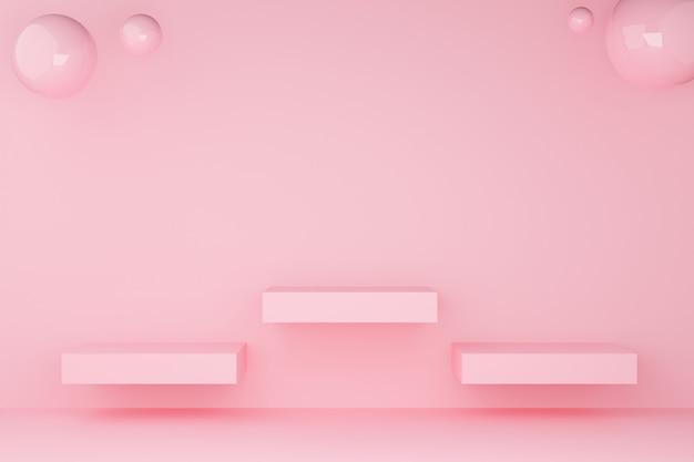 3d квадратного подиума розового пастельного цвета с трехрядной сферой.