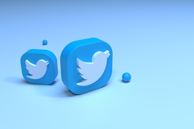 Twitterロゴの3d