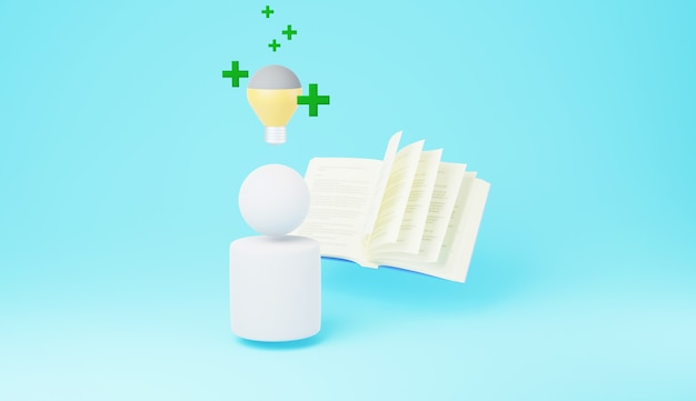 頭に電球が付いている本を使用しているユーザーの3d
