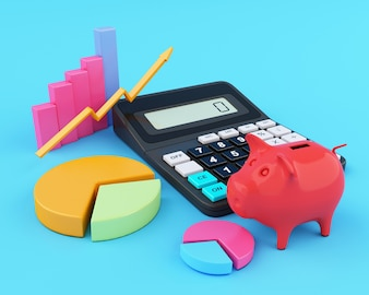 3d Office calculator with piggy bank and graphics.