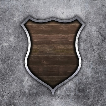 3d old metal and wood shield on grunge concrete background