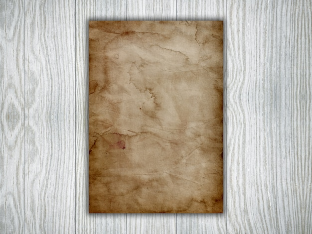 3d old paper on a white wooden texture