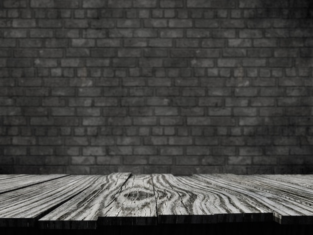 3d old rustic table against a brick wall background