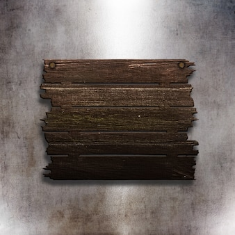 3D old wooden sign on a grunge metal texture