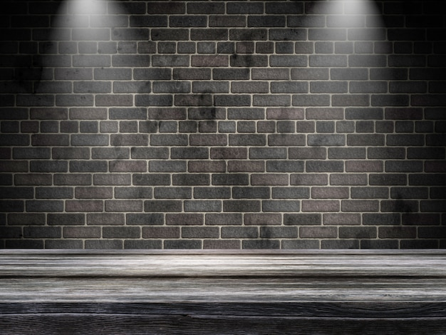 3d Grunge Interior With Spotlight Shining Down Photo Free Download