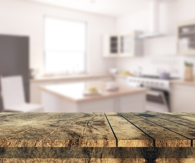 3d old wooden table looking out to a defocussed kitchen interior