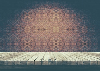 3D old wooden table looking out to a brick wall vintage style
