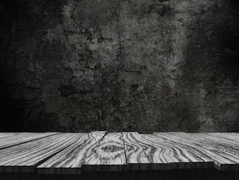 3D old wooden table looking out to a grunge background