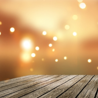 3D old wooden table looking out to golden bokeh lights