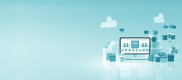 3d online e-commerce webshop with copy space