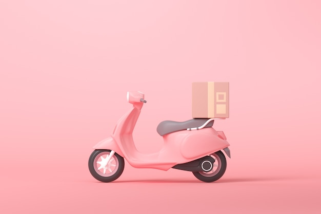 3d online express delivery scooter service concept