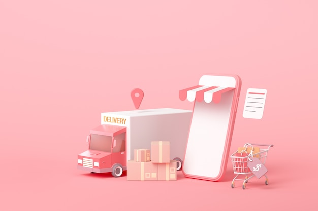 3d online express delivery service concept