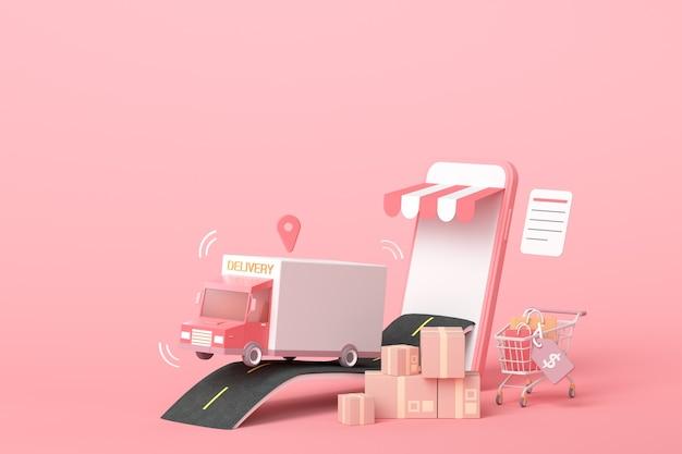 3d 온라인 특급 배달 서비스 개념