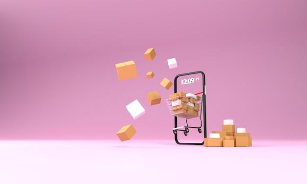 3d-покупки в интернете: тележка для покупок в супермаркете, полная коробок с посылками, прямо с экрана мобильного устройства.