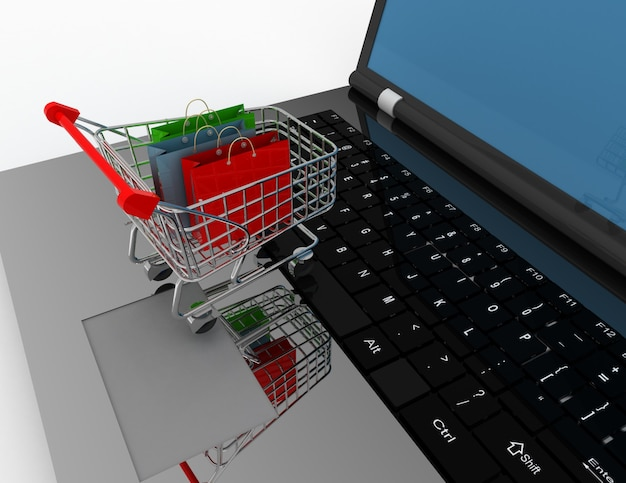 3d online shopping concept. illustration on white background