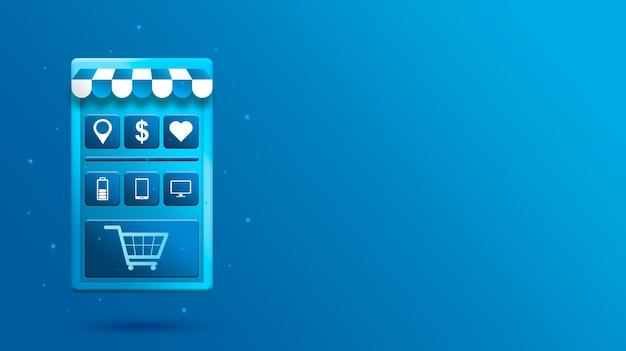 Мобильное приложение для 3d покупок онлайн с иконками продуктов