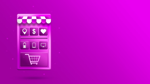 3d online shopping mobile app with product icons