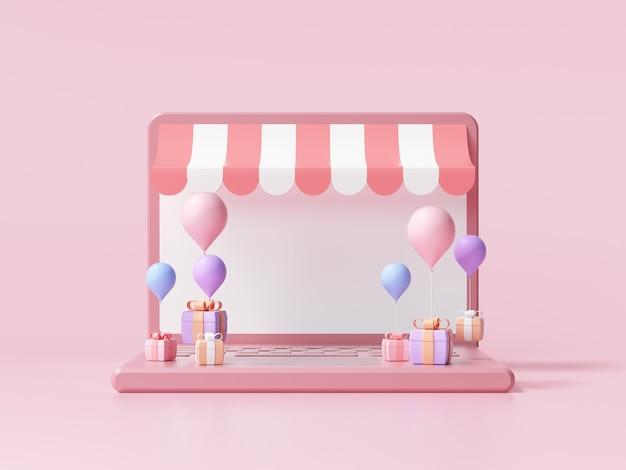 3d-покупки в интернете на концепции портативного компьютера. интернет-магазин, 3d визуализация иллюстрации