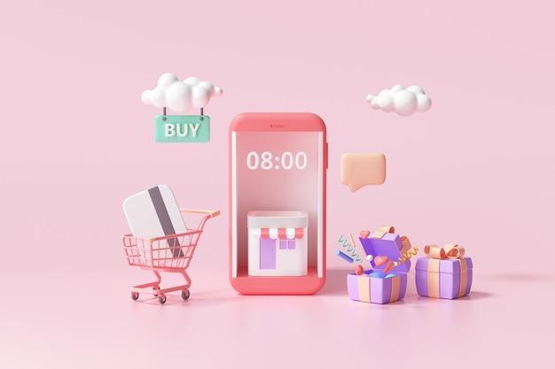 3d-покупки в интернете с использованием службы приложений для смартфонов, цифрового маркетинга, онлайн-покупок и концепции онлайн-платежей. 3d баннер фон.