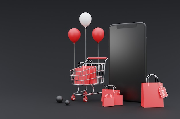 3d online shopping promotion concept with smartphone mock-up.on dark background.3d rendering.