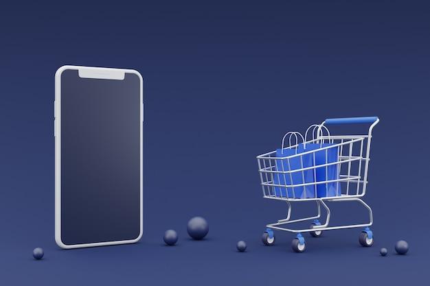 3d концепция продвижения онлайн-покупок с макетом смартфона. на темном фоне. 3d-рендеринг.