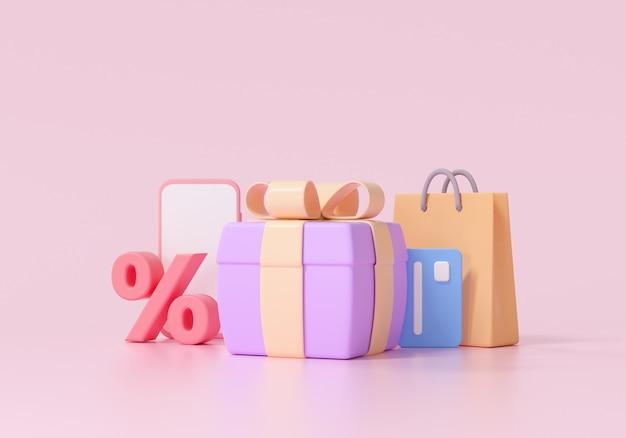 3d-покупки в интернете, рекламные скидки и мега-распродажи. 3d визуализация иллюстрации