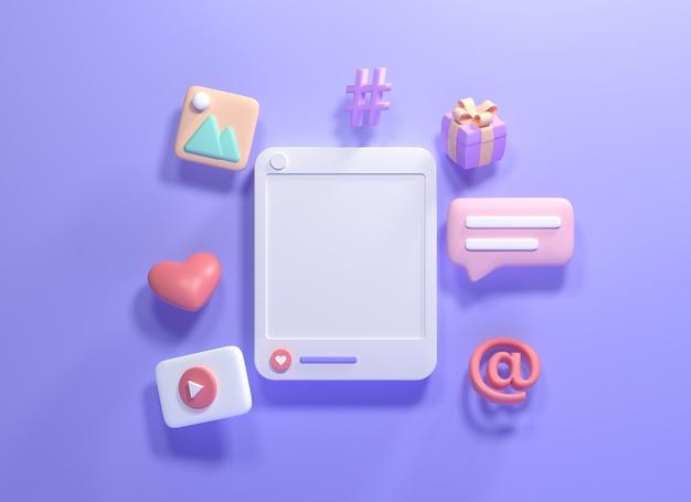 3dオンラインソーシャルメディアコミュニケーションプラットフォームのコンセプト。絵文字、コメント、愛、いいね、再生のアイコンが付いたフォトフレーム。 3dレンダリングイラスト