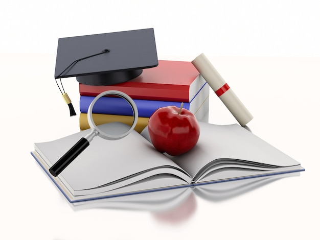 3d open book with an apple, graduation cap, diploma and stack of books.